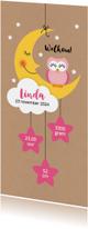 Geboortekaartjes - Roze uil op maan met wolk en sterretjes