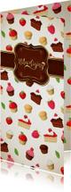 Smakelijke uitnoding met taartjes en cupcakes