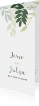 Staande trouwkaart met groene takjes
