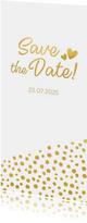 Stijlvolle save the Date kaart met gouden stippen en hartjes