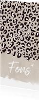 Stoer en langwerpig geboortekaartje jongen luipaard print