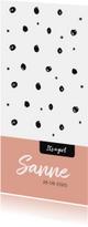 Trendy geboortekaartje zwart wit en roze
