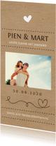 Trendy kraftlook trouwkaart met eigen foto