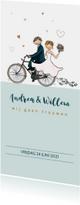 Trouwkaart fiets met hartjes