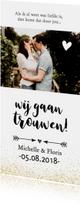 Trouwkaart - langwerpig met pijl en eigen foto