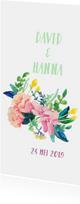 Trouwkaart met bloemen