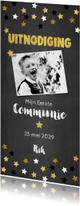 Uitnodiging communie krijtbord en sterren confetti
