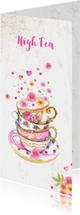 Uitnodiging High Tea kopjes bloemen
