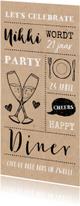 Uitnodiging hip etentje vrouw illustraties op kraft papier