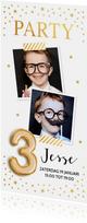 Uitnodiging kinderfeestje goud confetti ballon 3 jaar