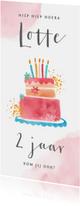Uitnodiging kinderfeestje meisje met grote taart