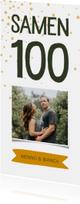 Uitnodiging samen 100 met foto en label