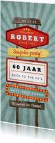 Uitnodiging verjaardag man retro vintage signs
