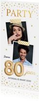 Uitnodigingen - Uitnodiging verjaardag samen 80 jaar goud confetti