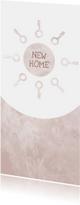 Verhuiskaart langwerpig  marble roze met sleutels