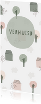 Verhuiskaart langwerpig met huisjes, bomen en wolken