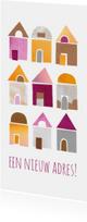 Verhuiskaart papiercollage huisjes