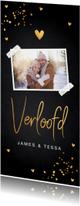 Verlovingskaart langwerpig foto gouden confetti