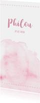 Geboortekaartjes - Watercolor geboortekaartje in het roze