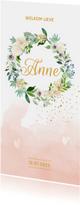 Geboortekaartjes - Waterverf bloemenkrans geboortekaartje meisje - LO