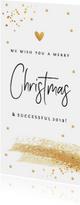 Zakelijke kerstkaart langwerpig goud wit