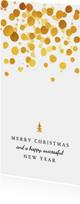 Zakelijke kerstkaart met gouden spetters en boompje
