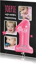 Kinderfeestjes - 1e Verjaardag ballon roze - SG