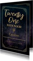 Uitnodigingen - 21 diner party goud