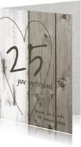 Jubileumkaarten - 25 jarig jubileum huwelijk - hout linnen