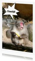 Uitnodigingen - Aap met banaan - etenstijd
