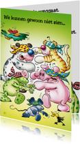 Felicitatiekaarten - Afscheid geblinddoekte dieren