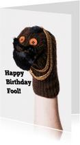 Verjaardagskaarten - BA sokkenpop Happy Birthday Fool