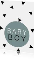 Felicitatiekaarten - Baby -  Baby Boy - Driehoekjes Denim Blue