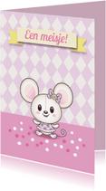 Felicitatiekaarten - Baby muisje meisje- TW