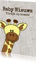 Felicitatiekaarten - Baby nieuws! Giraffe krantprint