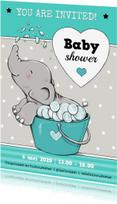 Uitnodigingen - Babyshower olifant badje IH