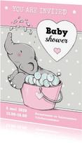 Uitnodigingen - Babyshower olifantje bad IH