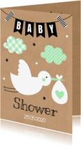 Uitnodigingen - Babyshower uitnodiging ooievaar mint - LB