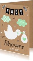 Uitnodigingen - Babyshower uitnodiging ooievaar mint
