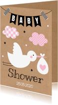 Uitnodigingen - Babyshower uitnodiging ooievaar roze