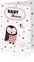 Uitnodigingen - Babyshower uitnodiging uil roze - LB