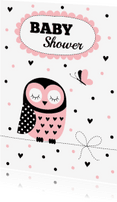 Uitnodigingen - Babyshower uitnodiging uil roze