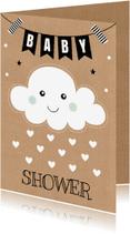 Uitnodigingen - Babyshower uitnodiging wolkje hartjes - LB
