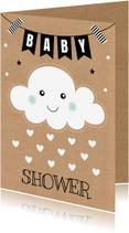 Uitnodigingen - Babyshower uitnodiging wolkje hartjes