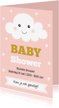 Uitnodigingen - Babyshower uitnodiging wolkje roze- LB