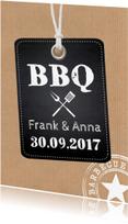 Uitnodigingen - BBQ uitnodiging kraftprint label