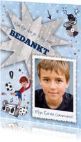 Communiekaarten - Bedankkaart Communie Voetbal Jongen