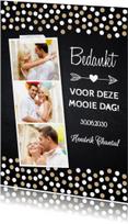 Trouwkaarten - Bedankkaart fotocollage krijtbord confetti