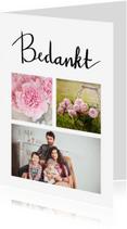 Bedankkaartjes - Bedankkaart fotocollage met handlettering tekst