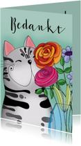 Bedankkaartjes - Bedankkaart kat met vaas bloemen - SK